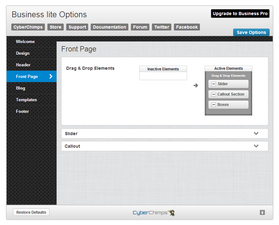 Business lite Front Page Options