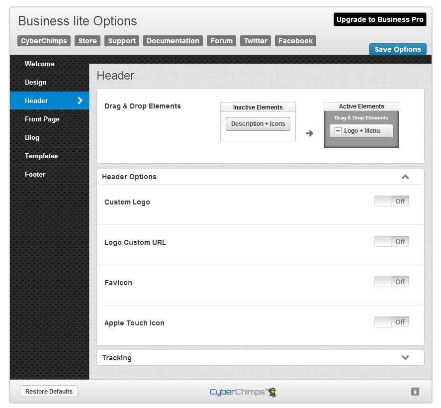 Business lite Header Options
