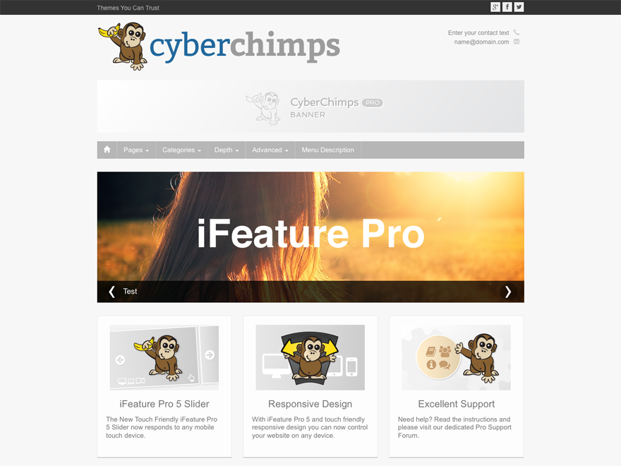 iFeature5 Responsive WordPress Theme Screenshot - touch friendly