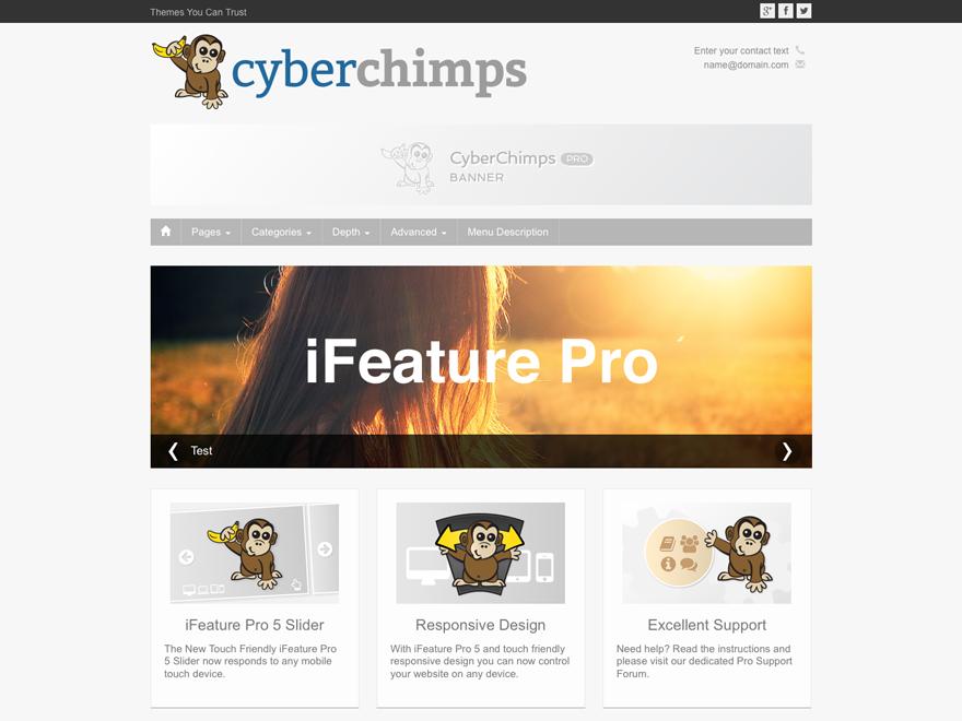iFeature5 Responsive WordPress Theme Screenshot - touch friendly