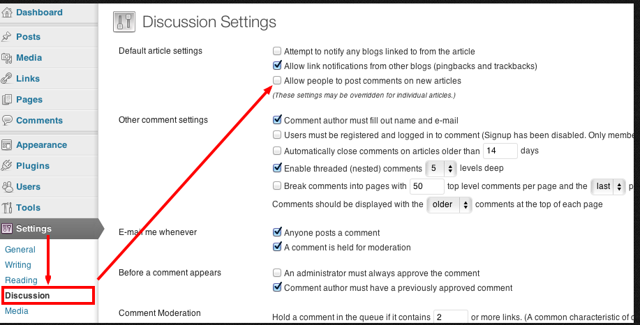 Disable comments for the whole website - Discussion Settings WordPress Theme