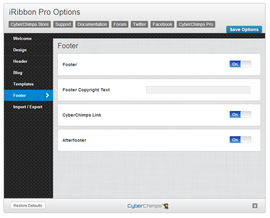 iRibbon Pro Footer Options