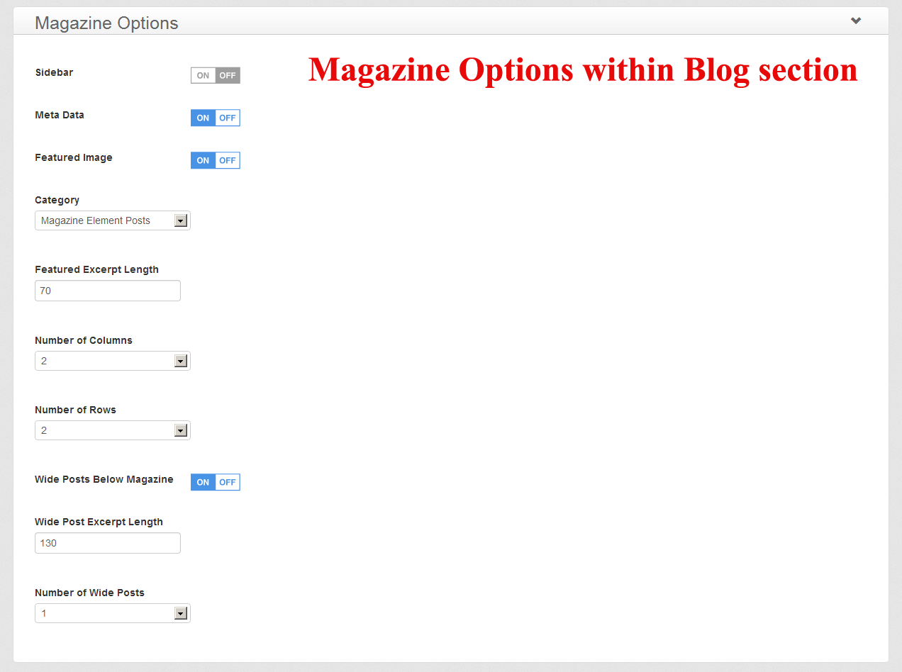 Magazine Options within your Blog section
