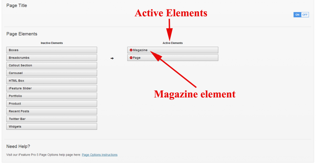 Magazine Element Page Options