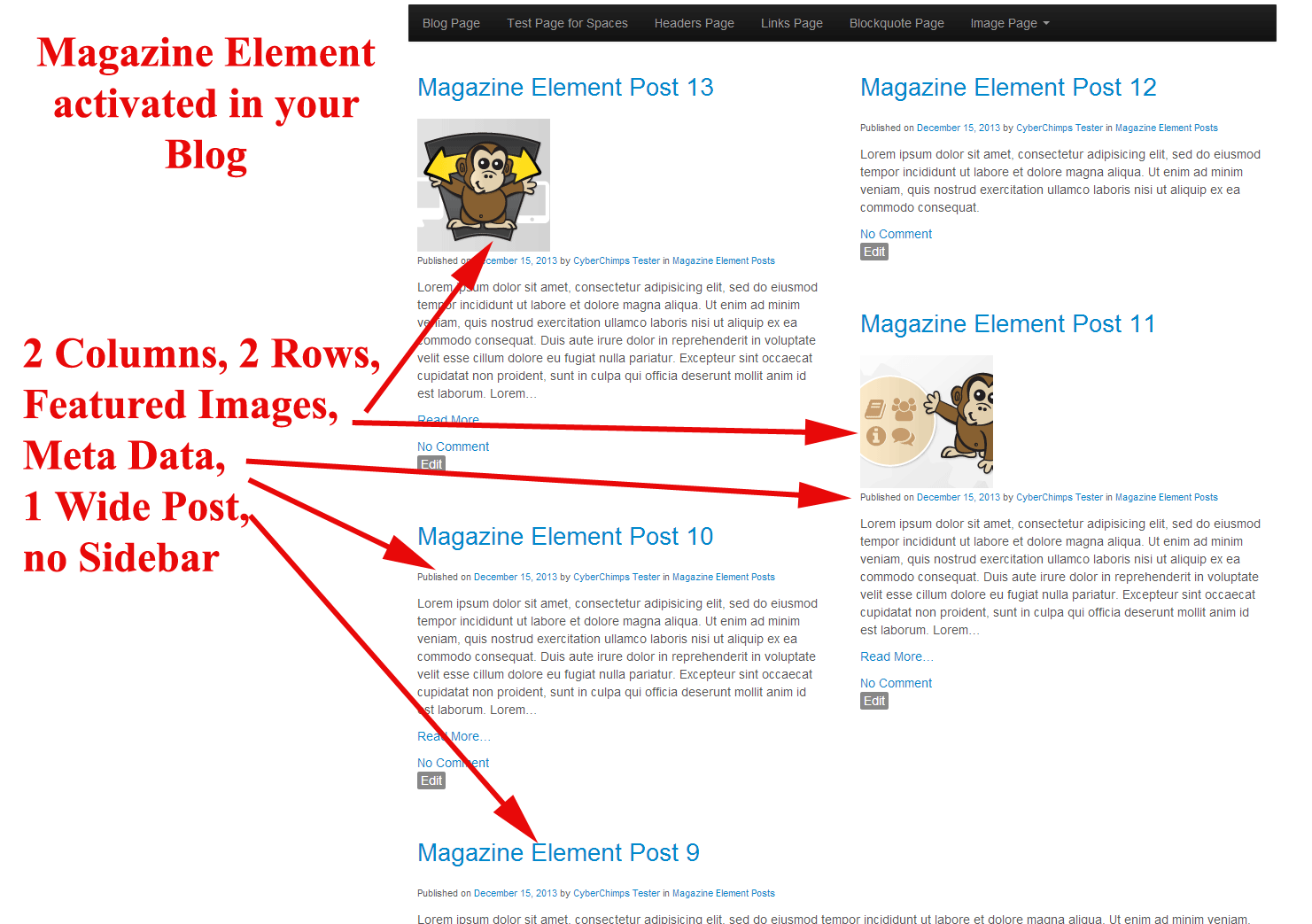 Magazine Element in Blog Section
