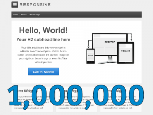 Responsive theme screenshot with the number one million