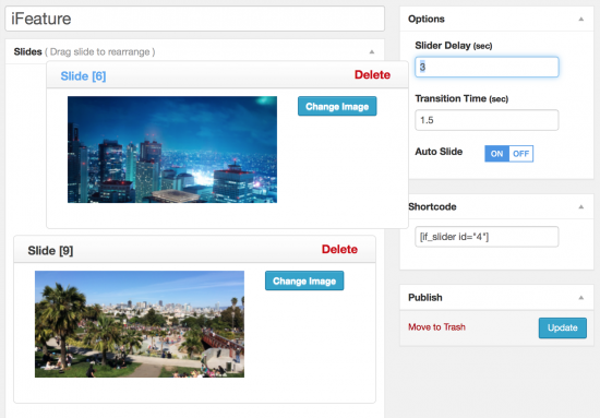 iFeature Slider drag-and-drop in action