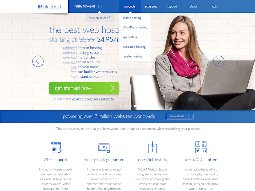 Bluehost hosting for WordPress website