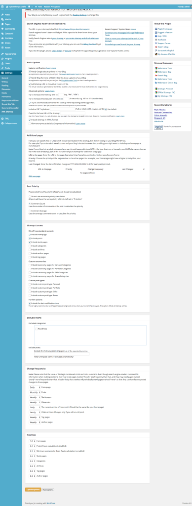 Google XML Sitemaps plugin settings screen