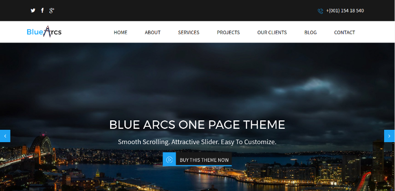 BlueArcs One Page WP Theme