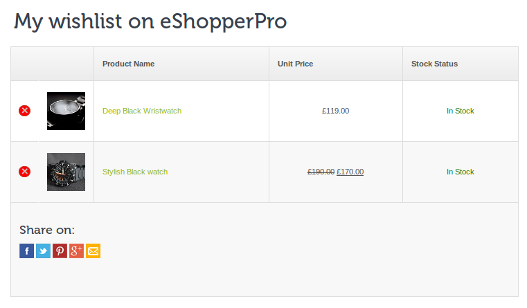e-Shopper Pro - Wishlist
