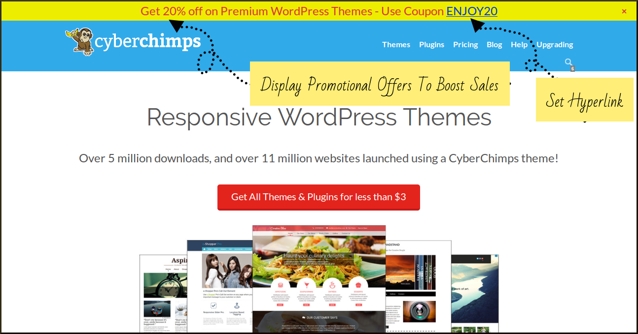 Use WordPress Promotional Bar to boost sales by giving special discount offers