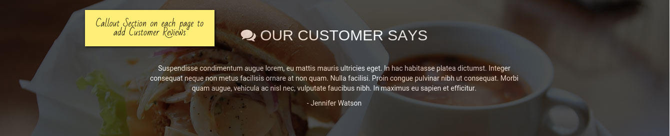 Cordon Bleu - WordPress Restaurant Theme - Customer Reviews callout section