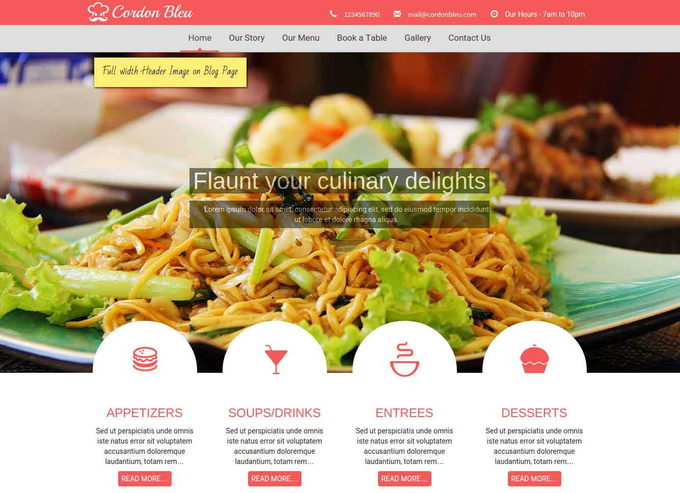 Cordon Bleu - WordPress Restaurant theme - fullwidth image