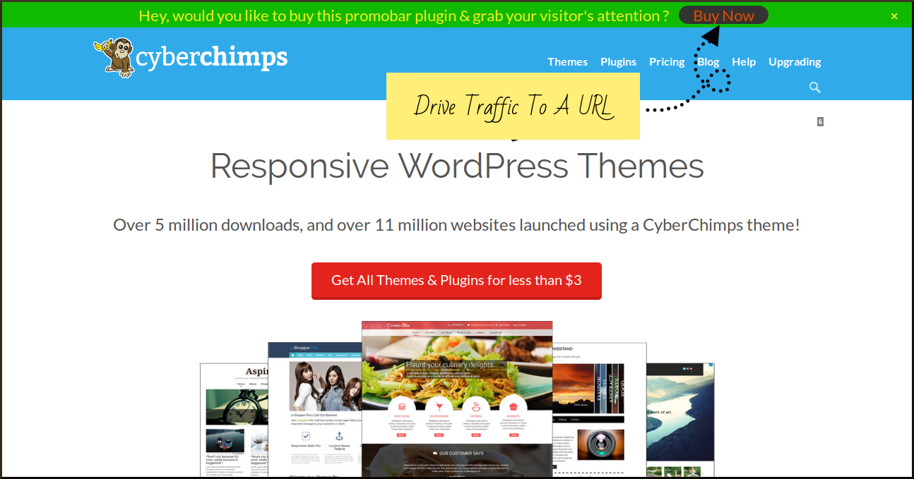 Add WordPress Promotional Bar and drive more traffic on a special landing page.