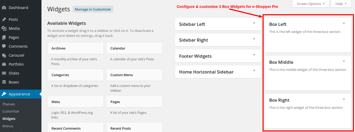 e-Shopper Pro - Blog Drag & Drop elements - Widgets Configure