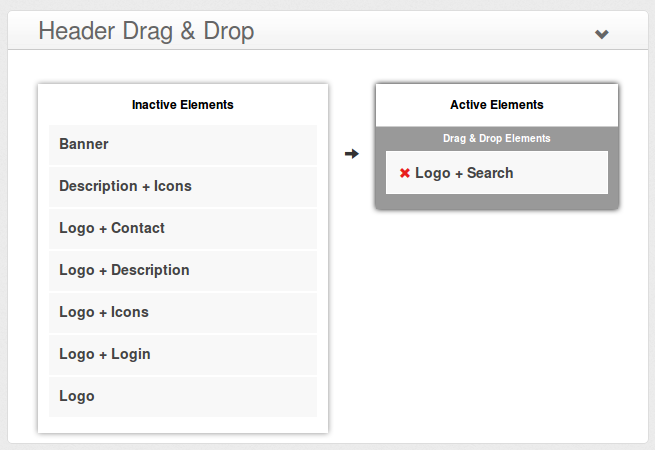e-Shopper Pro - Header Drag & Drop elements