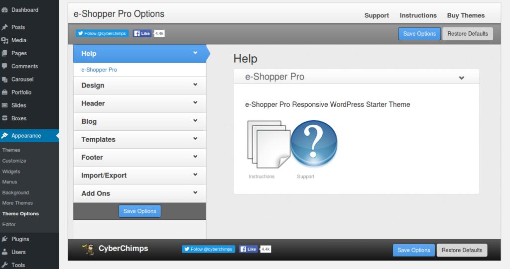 e-Shopper Pro - Theme Options
