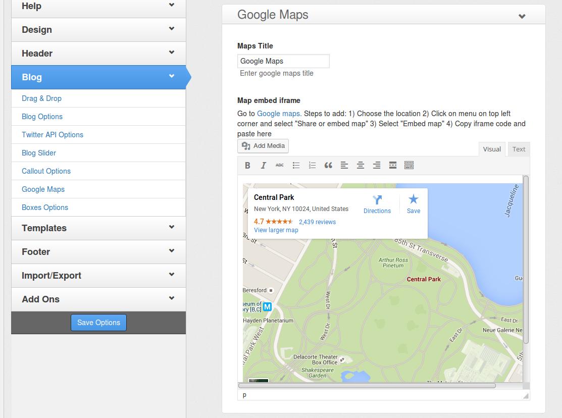 e-Shopper Pro - Theme Options - Google Maps