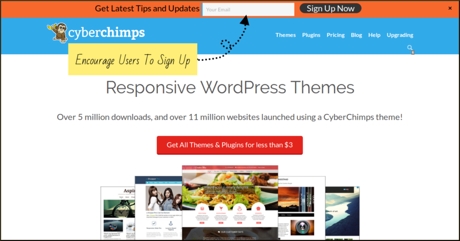Add WordPress Promotional Bar to increase website subscribers