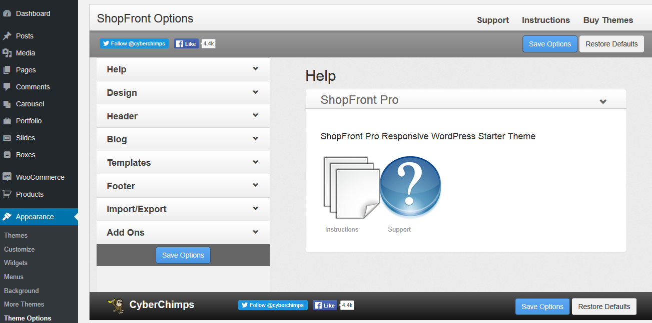 ShopFront - Theme Options