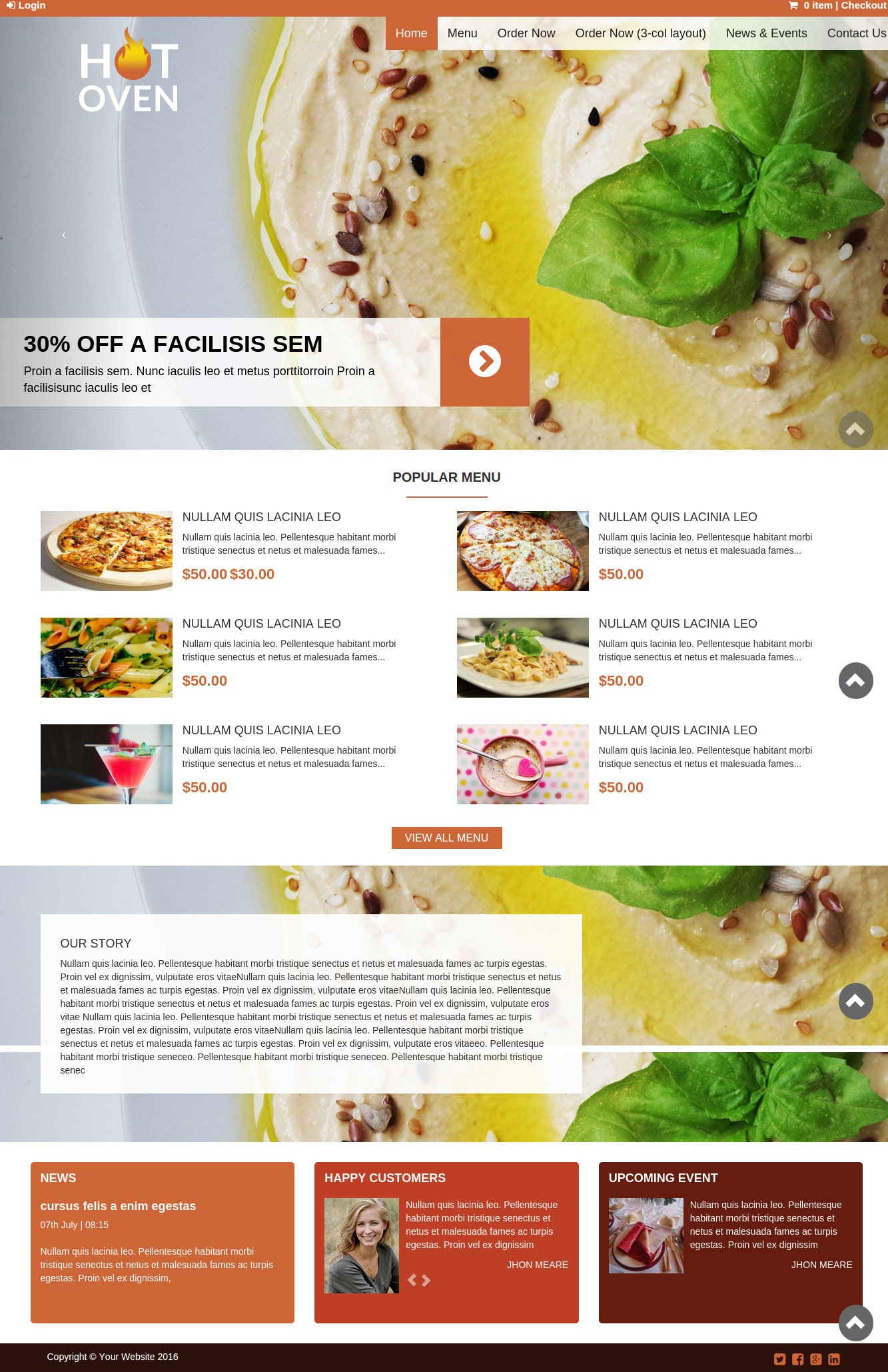 Hot Oven - Restaurant WordPress Theme
