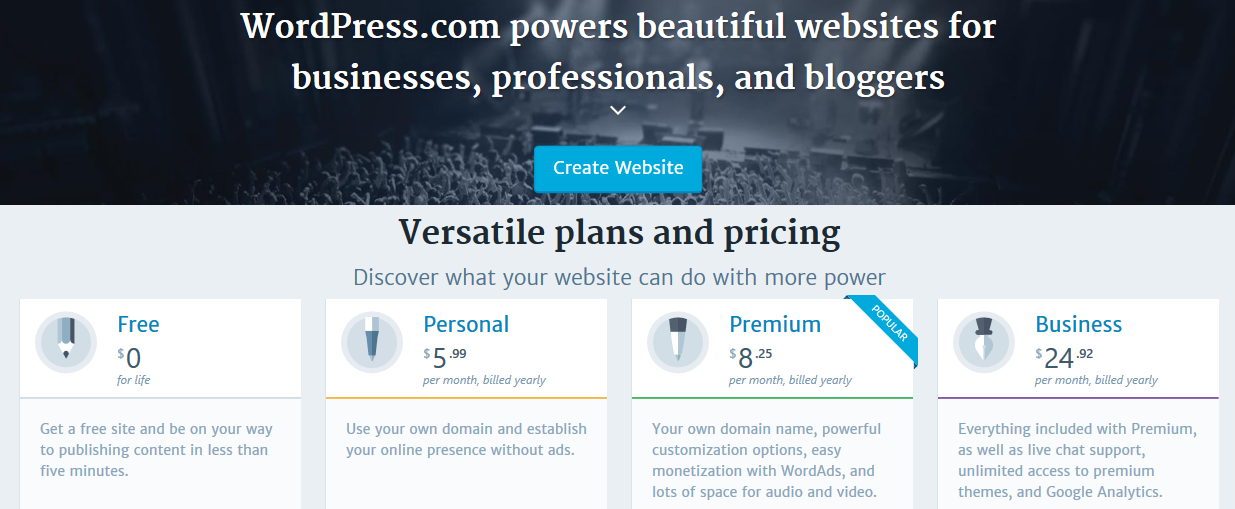 WordPress.com Pricing Plans