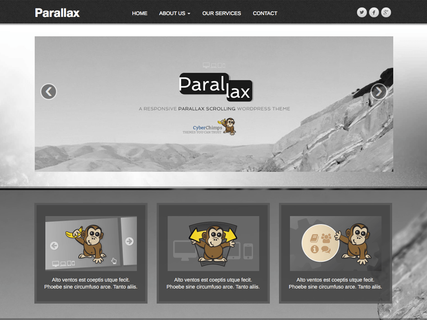 Free Portfolio WordPress Responsive Theme with Parallax Scrolling