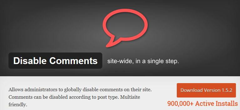 Disable Comments Plugin - Single step solution to disable comments in WordPress
