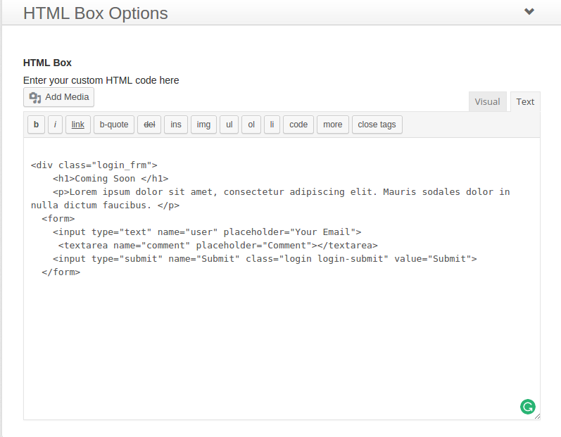 HTML Box Options
