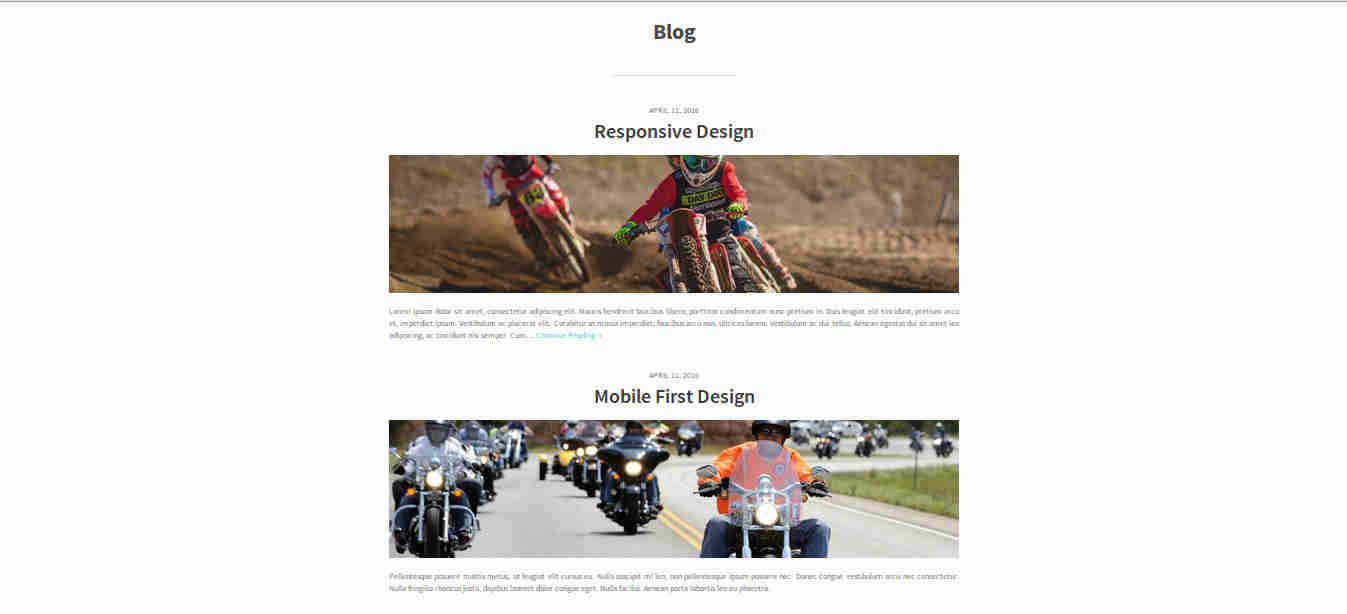 Blog Template in Parallax Website