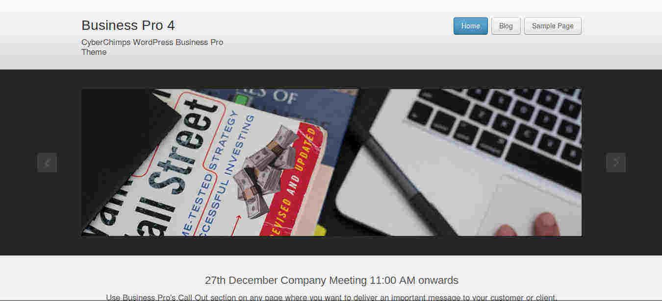 Business WordPress theme with Slider