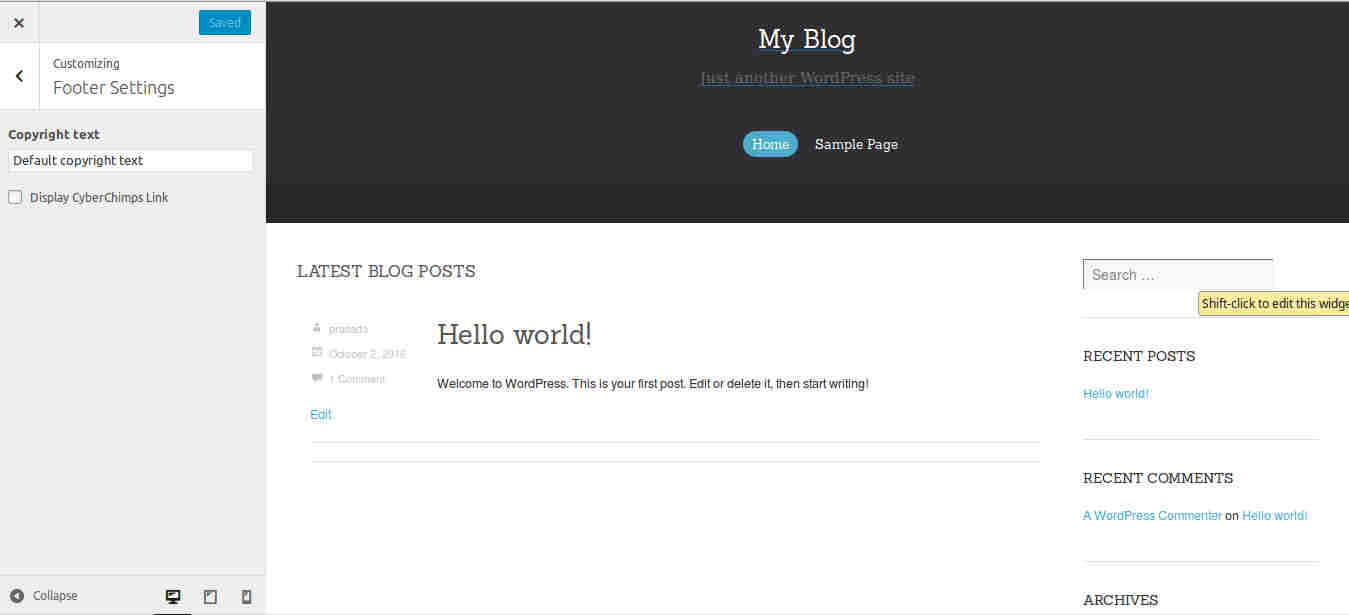 Customization options in WordPress Blogging Theme