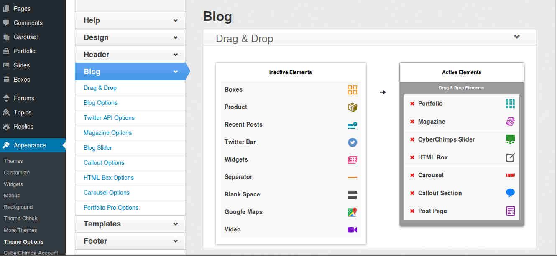 Blog Options in WordPress Magazine Theme