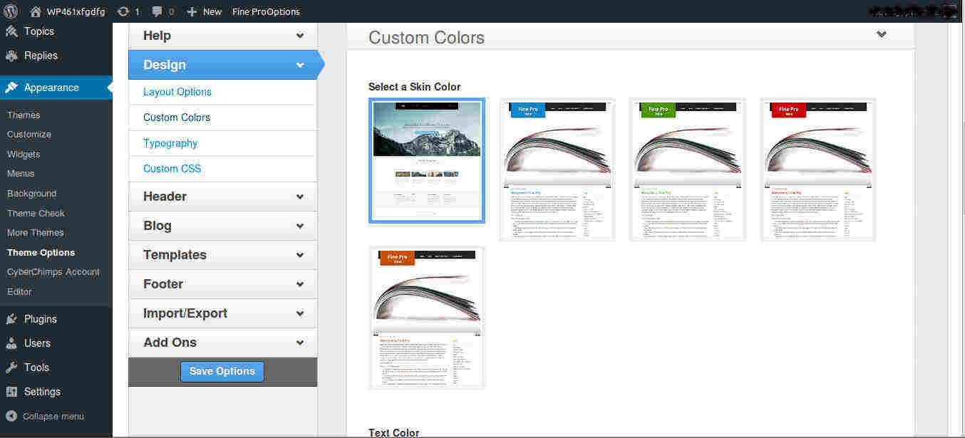 Skin Color Options for WordPress Magazine Theme