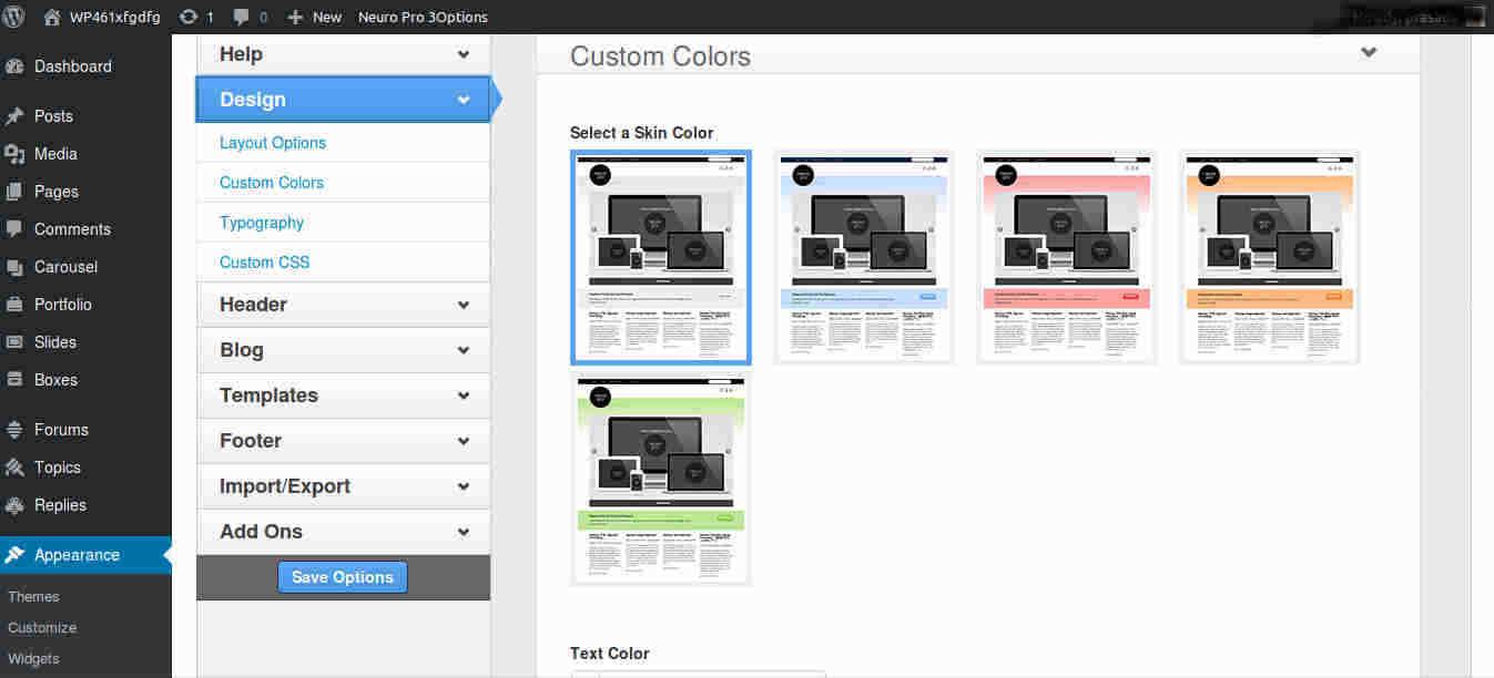 Skin Options for WordPress Magazine Theme