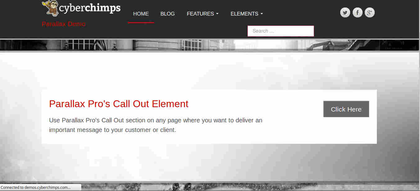 Callout section in Parallax WordPress theme