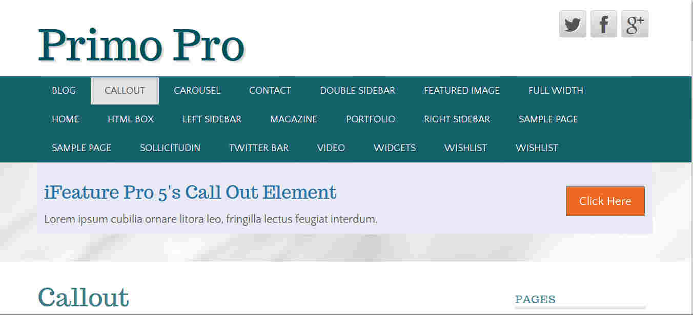 Call Out Section in WordPress Theme