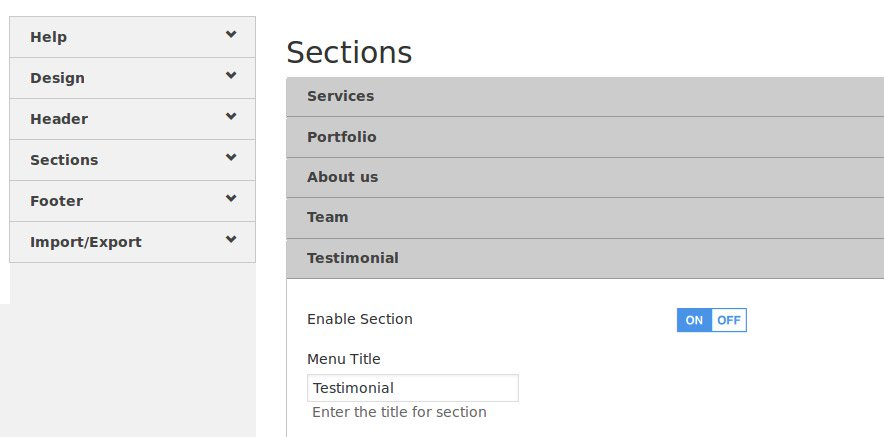 sections in one page theme