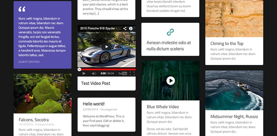 Post formats in vertical layout WordPress theme