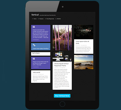 Vertical Layout WordPress Blogging Theme