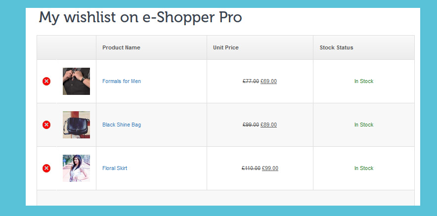 WooCommerce Wishlist in eCommerce themes