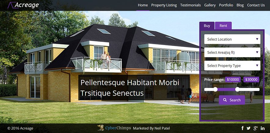 Homepage Template in WordPress Real Estate Theme