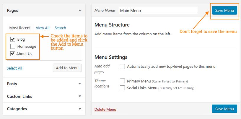 WordPress dropdown menu - Adding menu items