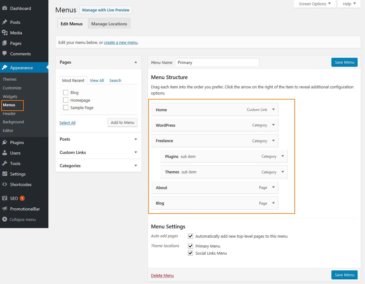 WordPress dropdown menu - Menu manager tool