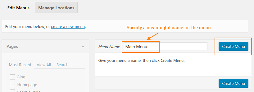 WordPress dropdown menu - creating a menu