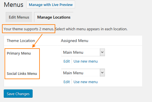 WordPress dropdown menu - managing menu locations