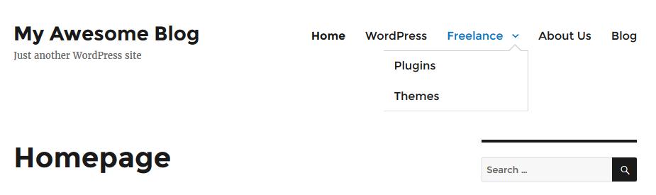WordPress dropdown menu preview