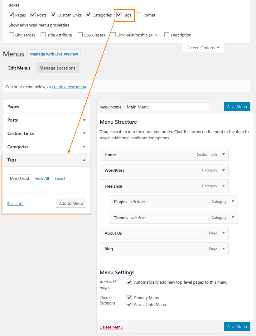 WordPress dropdown menu - showing tags