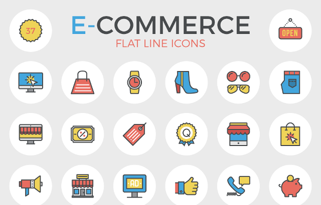 Download Free ECommerce Flat Line Icons